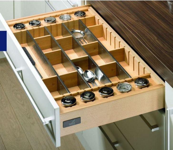 Portaposate deluxe in acciaio e legno - Portaposate per cassetti ...