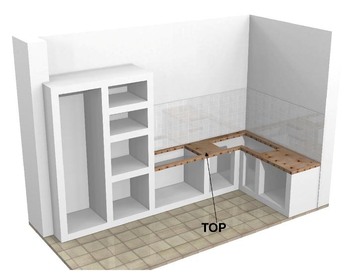 Top con fori per cucine in muratura