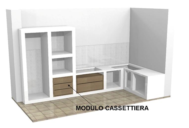 Modulo cassettiera per cucine in muratura - Cassettiera da cucina ...