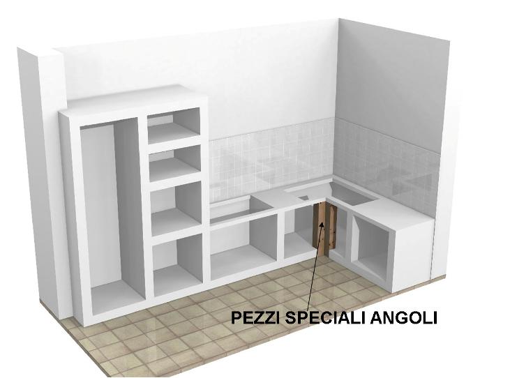 Angolo per cucine in muratura su misura - Mobili per angoli ...