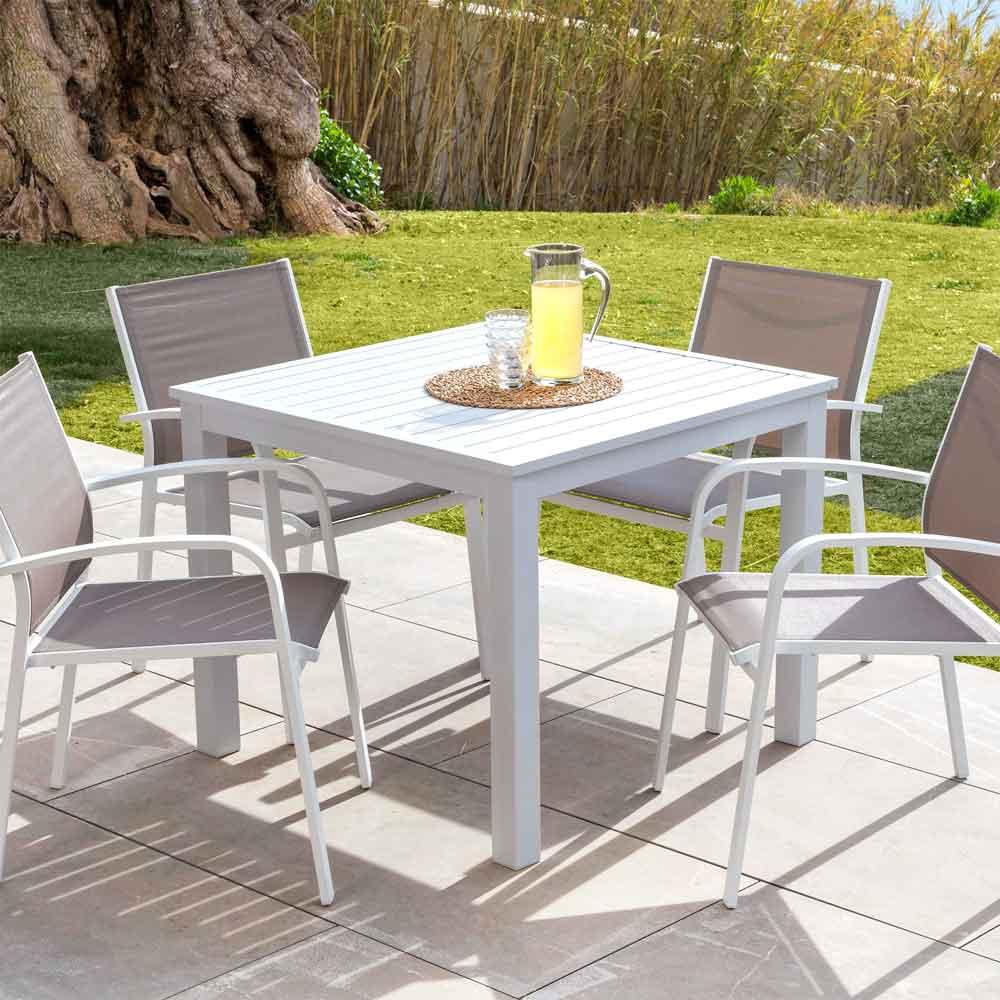 Immagini Tavoli Da Giardino.Tavolo Alluminio Allungabile Classic Con Sedie