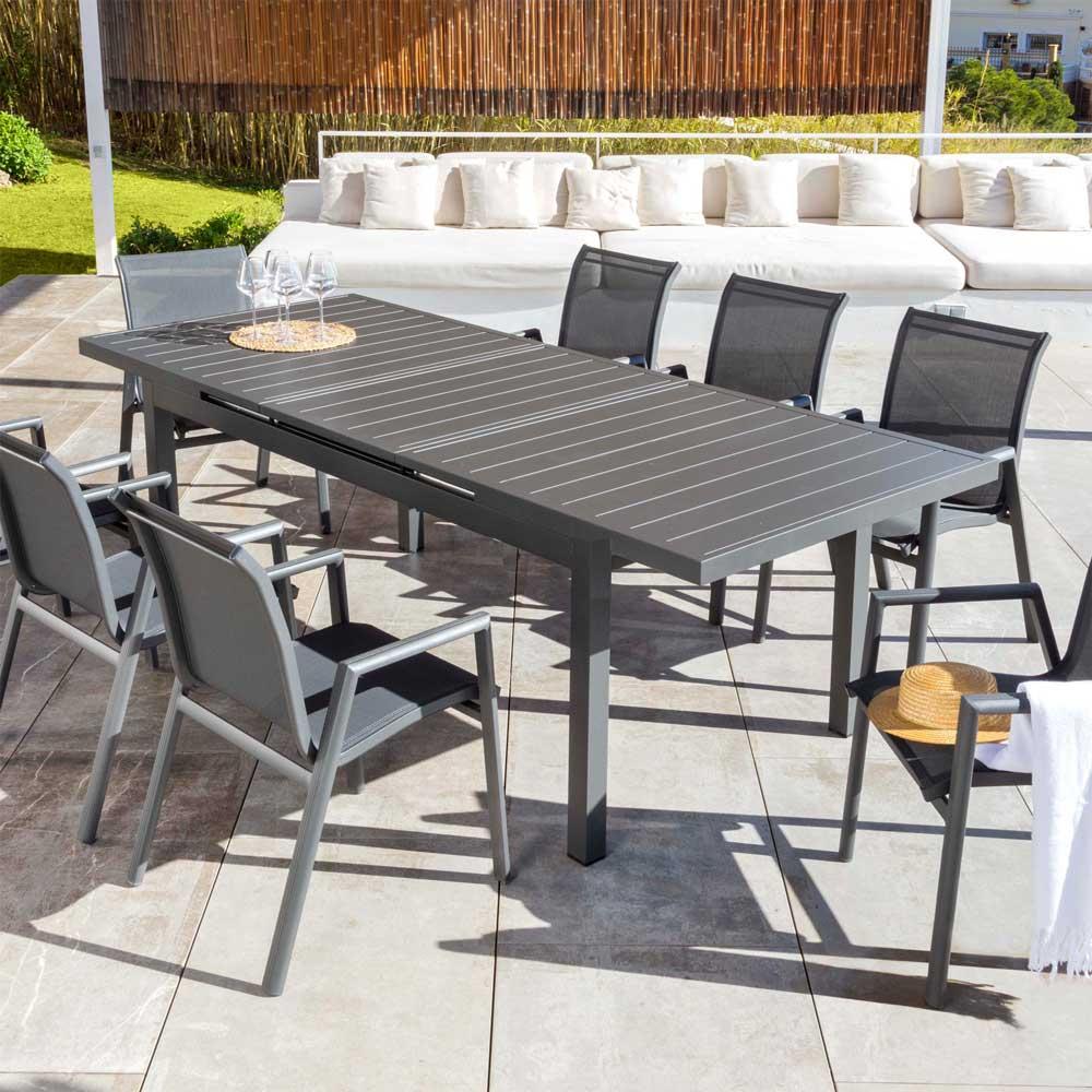 Immagini Tavoli Da Giardino.Tavolo Alluminio Allungabile Corfu Con Sedie