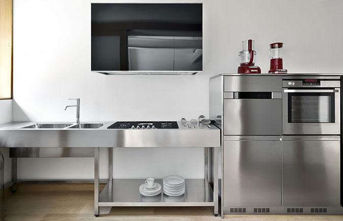 Top per cucine componibili top cucina classica pantheon con zoccolo cucina bricoman e cucine - Cucine in acciaio per casa ...
