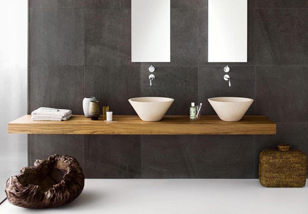Top lavabo legno massello su misura